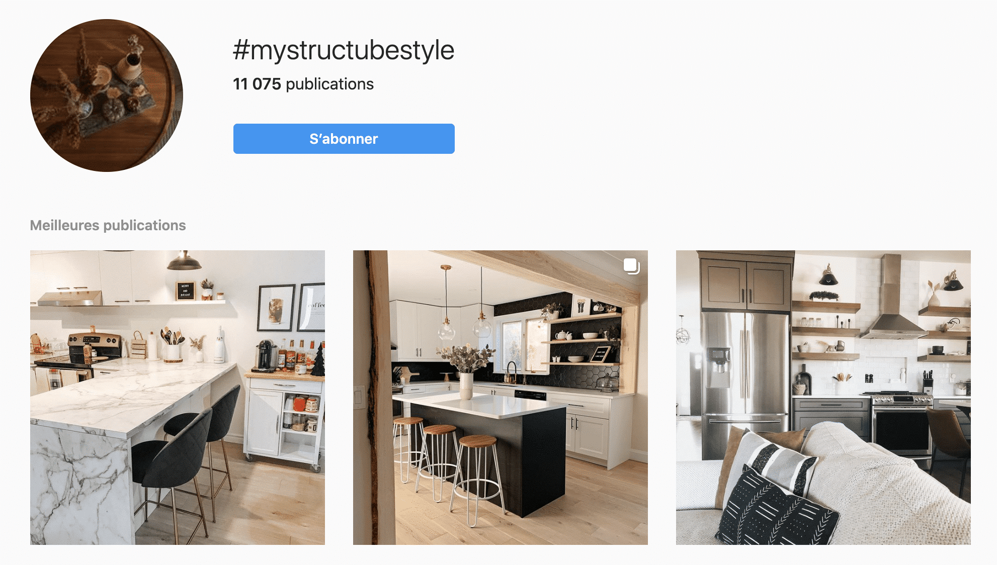 example of hashtag : structube